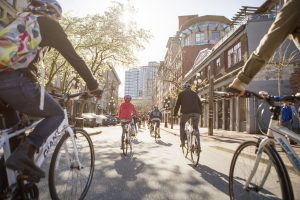 Image of group biking through the streets of Gastown