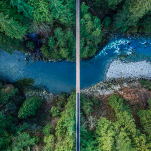 Overhead image of Capilano Suspension Bridge and the Capilano River