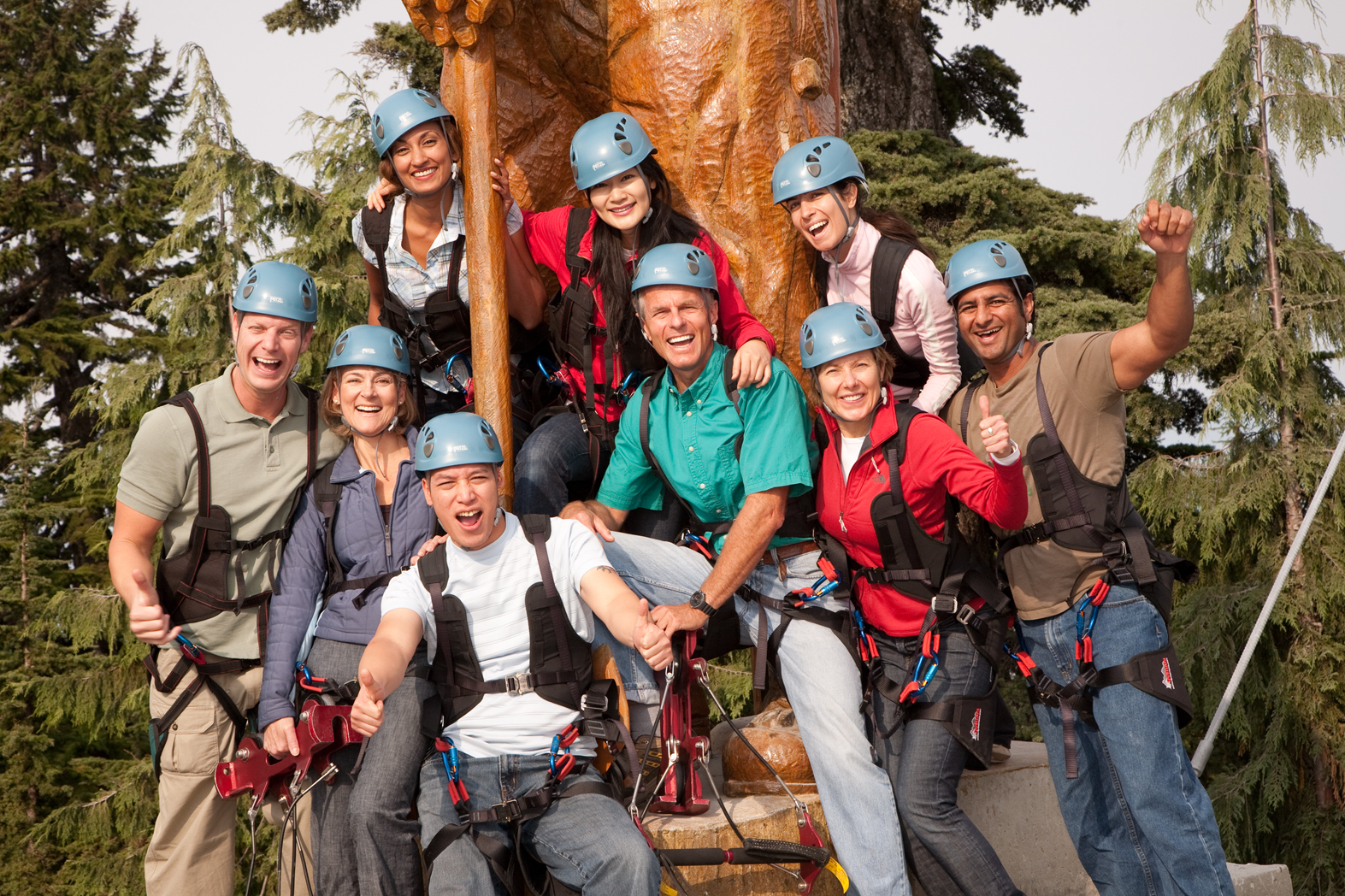 Group of zipliners at Grouse Mountain