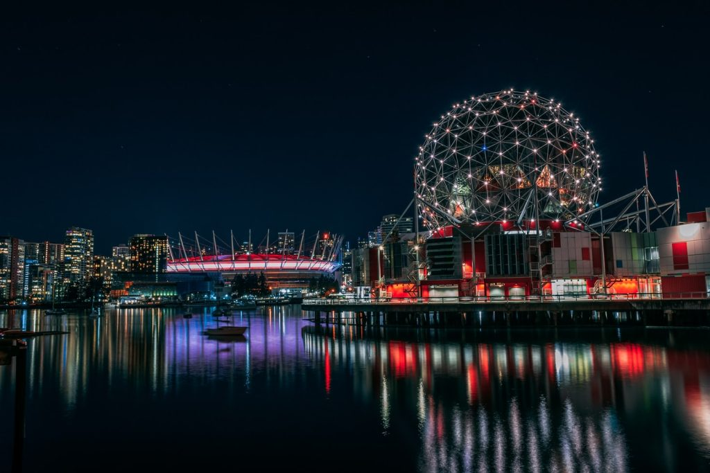 Science world and BC place at night